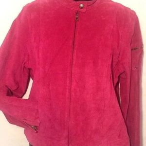 ie Woman's Pink Suede Jacket PL Front Pockets Zips